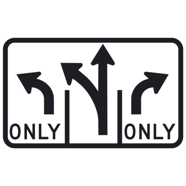 Lane Use Control, L-LT-R (R3-8a)