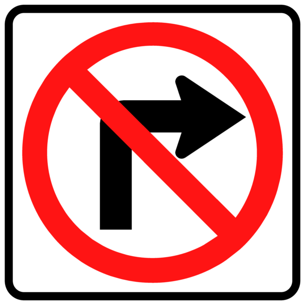 No Right Turn Symbol (R3-1)
