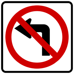 No Left Turn Symbol (R3-2)
