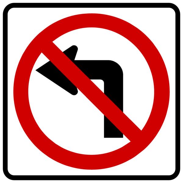 No Left Turn Symbol (R3-2)