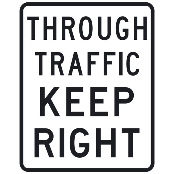 Through Traffic Keep Right (R4-H11)