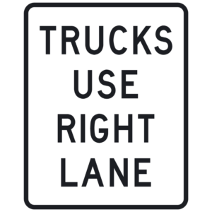 Trucks Use Right Lane (R4-5)