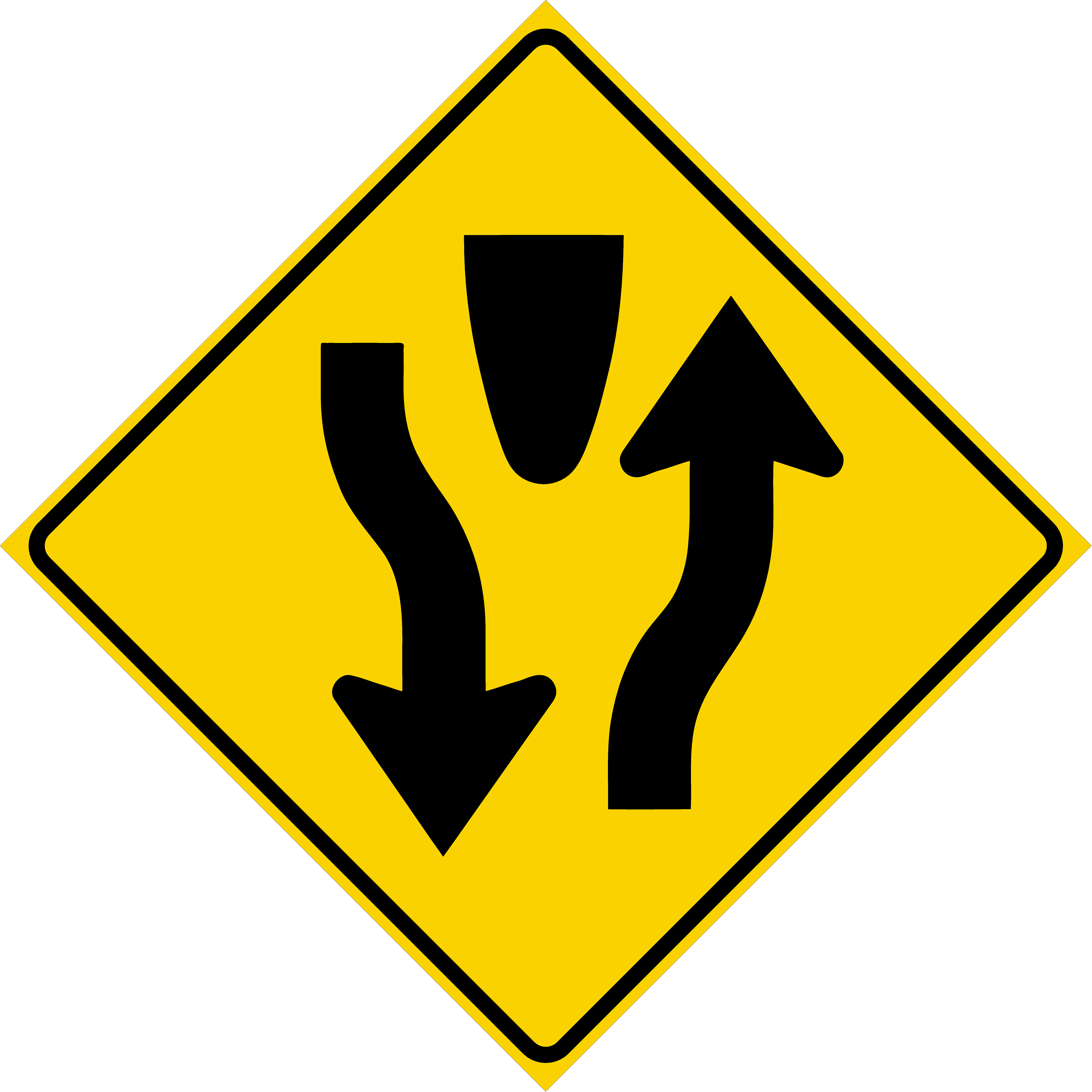 Divided Highway Sign (W6-1)