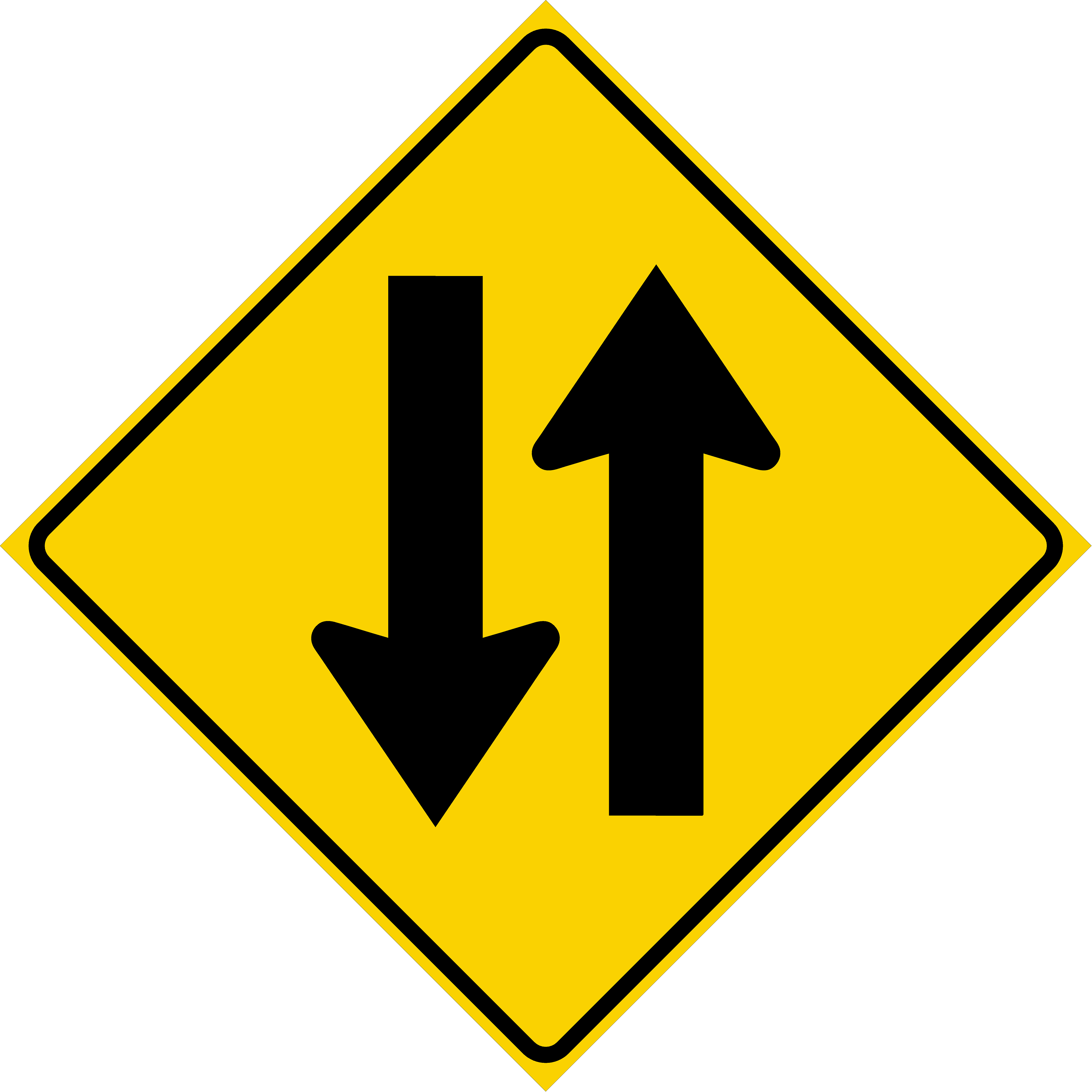 Two Way Traffic Symbol (W6-3)