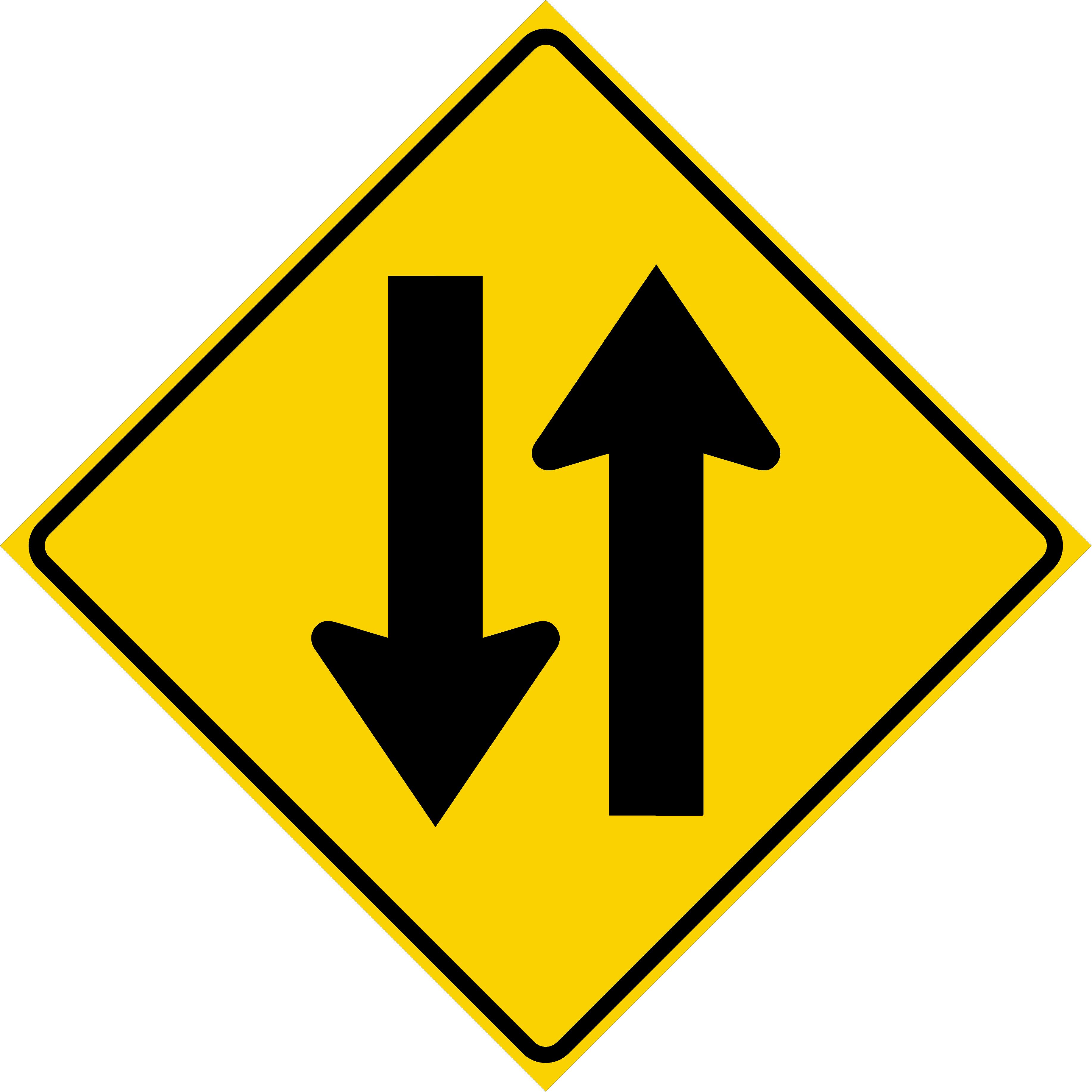 Two Way Traffic Symbol (W6-3)