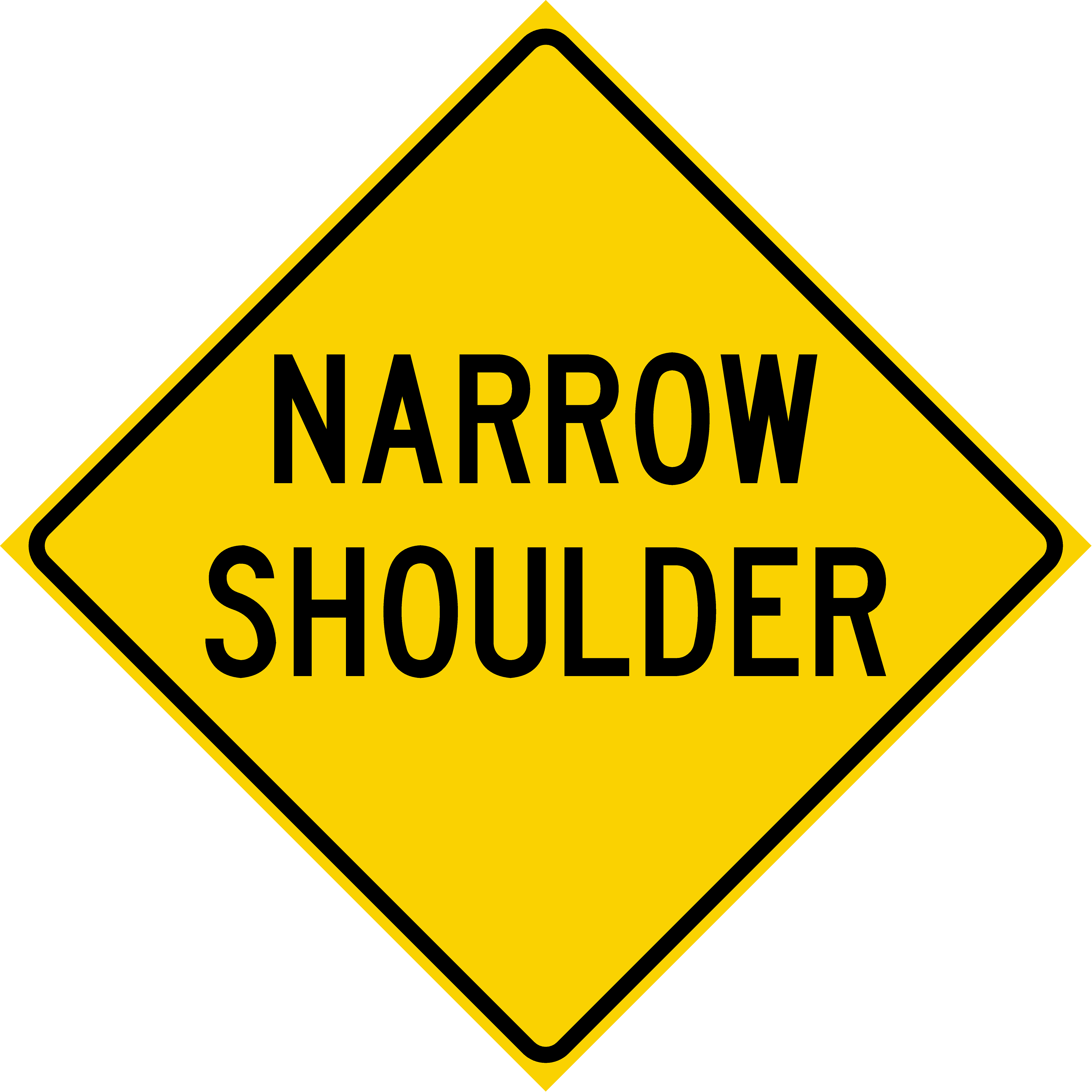 Narrow Shoulder (W8-H23a)