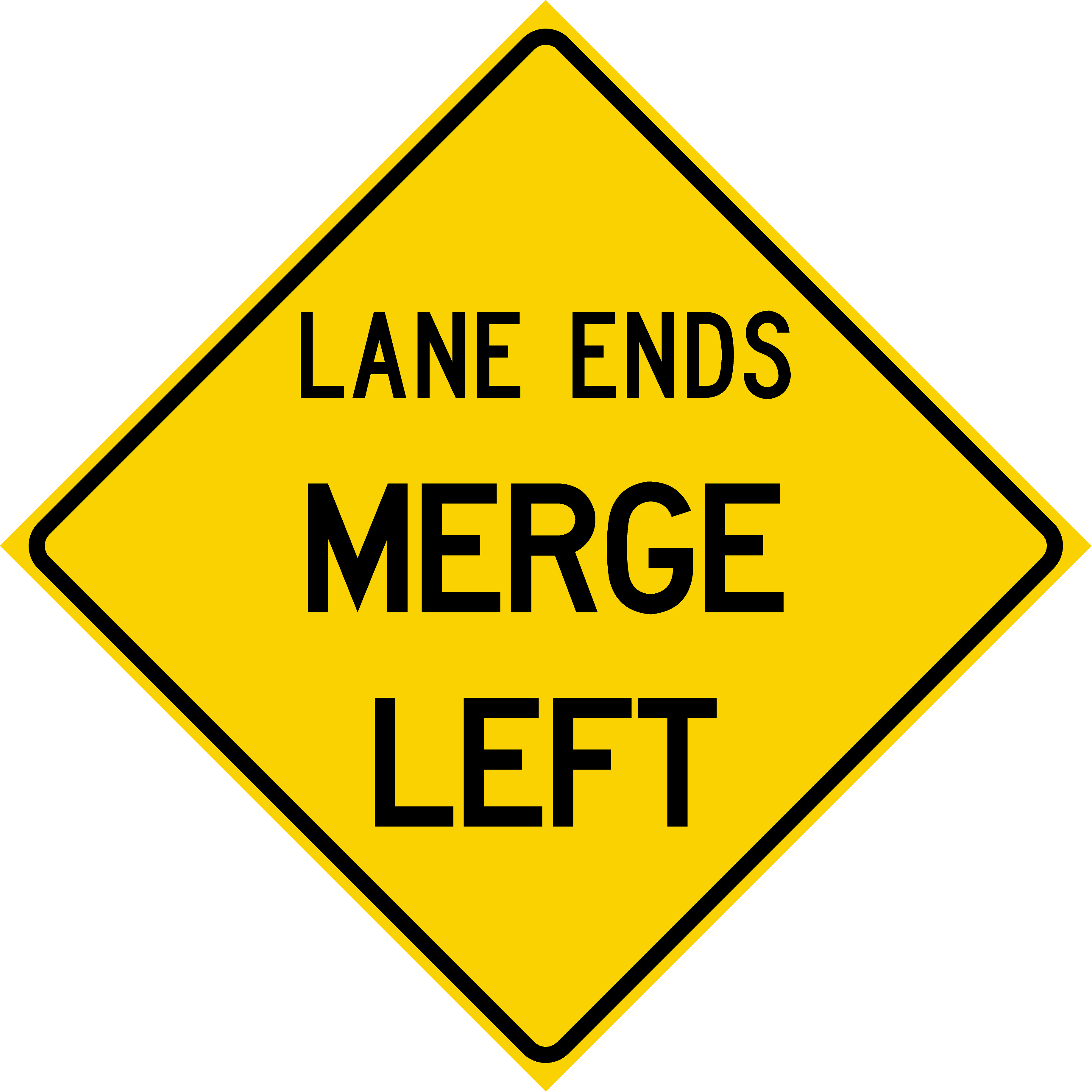 Lane Ends Merge Left (W9-2L)